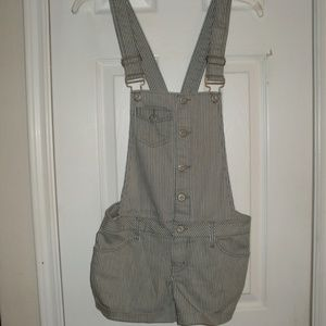 NEW MOSSIMO  XS Gray Stripe Denim Short Overalls